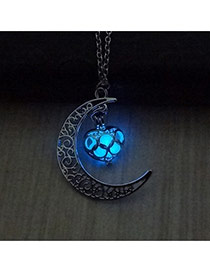Fashion Blue Hollow Out Moon Pendant Decorated Simple Necklace