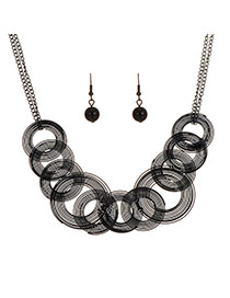 Elegant Black Spiral Weaving Pendant Decorated Simple Jewelry Sets