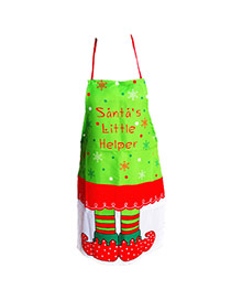Lovely Red+white Snowflake&letter Pattern Decorated Color Matching Simple Apron