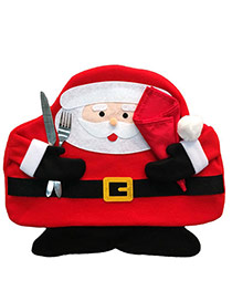 Lovely Red Square Shape Hasp Decorated Father Christmas Shape Table Mat