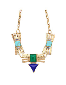 Fashion Gold Color Square Shape Diamond Decorated Irregular Shape Necklace