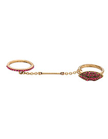 Elegant Antique Gold+red Diamond Decorated Lip Shape Simple Ring