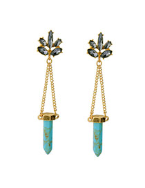 Fashion Blue Bullet&diamond Decorated Simple Long Earrings