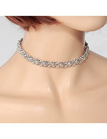 Fashion Silver Color Hollow Out Flower Decorated Pure Color Design Choker