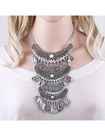 Exaggerated Antique Silver Coins Pendant Decorated Hollow Out Multi-layer Necklace