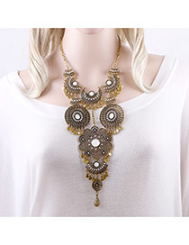 Fashion Antique Gold Diamond Decorated Hollow Out Flower Shape Simple Necklace