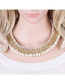 Vintage Gold Color+white Pearls Decorated Hand-woven Simple Collarbone Necklace