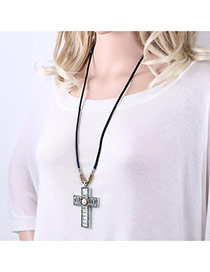 Exaggerated Black+white Cross Pendant Decorated Simple Long Necklace