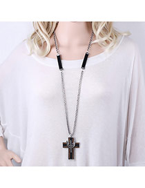 Exaggerated Silver Color+black Cross Pendant Decorated Simple Long Necklace