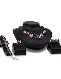 Fashion Multi-color Diamond Decorated Hollow Out Flower Design Jewelry Sets