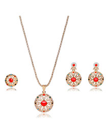 Fashion Gold Color Hollow Out Sunflower Shape Pendant Decorated Simple Jewelry Sets