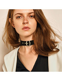 Fashion Black Square Shape Buckle Decorated Simple Choker
