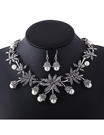 Fashion Silver Color Pearls Decorated Flower Shape Simple Jewelry Sets