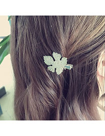 Fashion Silver Color Leaf Shape Design Pure Color Simple Hair Clip