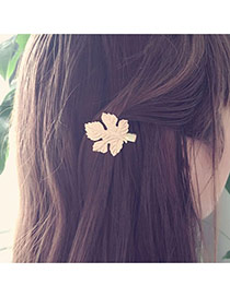 Fashion Rose Gold Leaf Shape Design Pure Color Simple Hair Clip