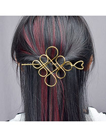 Fashion Gold Color Chinese Knot Design Pure Color Simple Hairpin