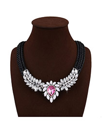 Bohemia Plum Red+black Water Shape Diamond Decorated Simple Hand-woven Jewelry Sets