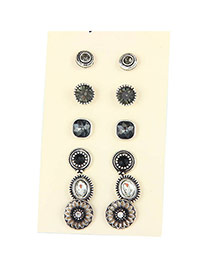 Trendy Antique Silver+gray Diamond Decorated Flower Shape Simple Earrings (6pcs)