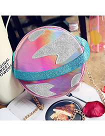 Fashion Pink Planet Shape Design Color Matching Shoulder Bag