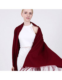 Fashion Claret Red Tassel Decorated Pure Color Design Simple Scarf