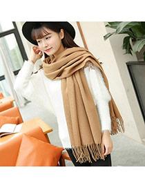 Fashion Khaki Tassel Decorated Pure Color Design Simple Scarf