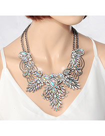 Fashion Multi-color Water Drop Shape Diamond Decorated Double Layer Irregular Shape Necklace