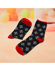 Fashion Black+red Snowflake Pattern Decorated Color Matching Sock