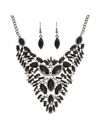 Elegant Black Oval Shape Decorated Pure Color Jewelry Sets