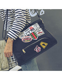 Fashion Black Patch Decorated Square Shape Subtle Life Bag