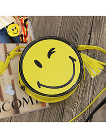 Sweet Yellow+black Smiling Face Decorated Round Shape Simple Bag