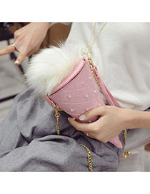 Fashion Pink Fuzzy Ball Decorated Ice Cream Shape Bag