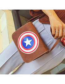 Fashion Brown Shield Pattern Decorated Simple Square Shape Bag