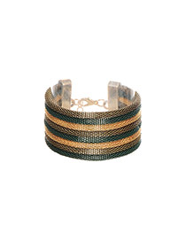 Fashion Green+gold Color Color-matching Decorated Short Chain Simple Bracelet