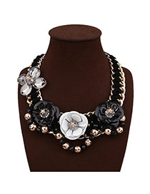 Exaggerate Black Flower Decorated Hand-woven Short Chain Necklace