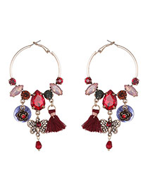 Bohemia Red Butterfly&tassel Pendnat Decorated Simple Round Shape Earrings