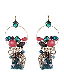 Bohemia Multi-color Leaf&tassel Pendnat Decorated Simple Round Shape Earrings