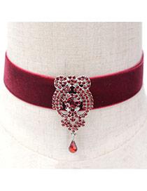Retro Red Waterdrop Shape Gemstone Decorated Simple Choker