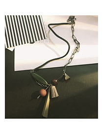 Bohemia Gray Round Shape & Tassle Decorated Long Chain Swearter Necklace