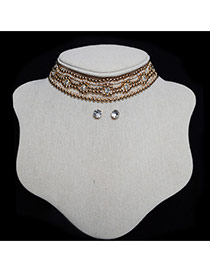 Vintage Gold Color Round Shape Decorated Long Chain Jewelry Sets