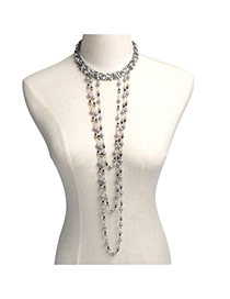 Elegant Gray Round Shape Decorated Long Tassel Body Chain