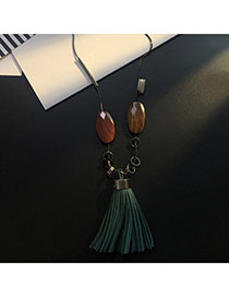 Tassel Green Big Tassel Pendant Decorated Simple Sweater Necklace