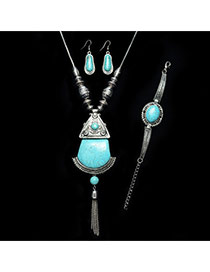 Exaggerated Silver Color+green Geometric Shape Stone Decorated Tassel Jewelry Sets