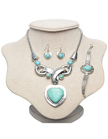 Vintage Silver Color+green Heart Shape Stone Pendant Decorated Simple Jewelry Sets