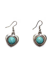 Vintage Silver Color+green Round Stone Decorated Heart Shape Earring