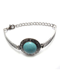 Vintage Silver Color+green Round Shape Stone Decorated Simple Bracelet