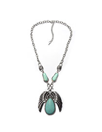 Fashion Green+silver Color Metal Wing Shape Pendant Decorated Simple Necklace