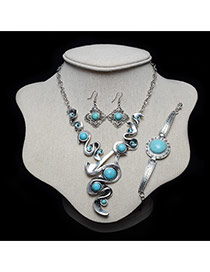 Retro Green+silver Color Crooked Shape Pendant Decorated Simple Jewelry Sets
