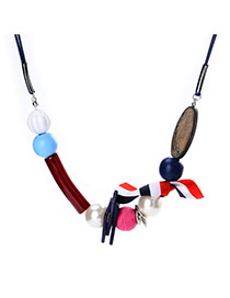 Fashion Multi-color Round Shape Decorated Simple Sweater Necklace