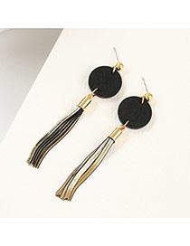 Fashion Black Round Shape Decorated Metal Tassel Simple Earrings