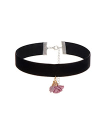 Lovely Pink Flower Shape Pendant Decorated Simple Choker